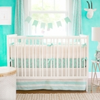 Zebra Parade in Mint Crib Bedding Set