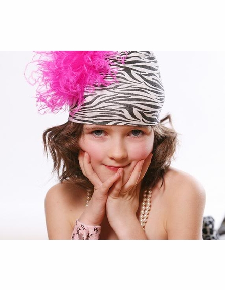 Zebra Print Hat with Hot Pink Curly Marabou