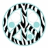 Zebra Stripe Peace Signs and Dots in Blue Wall Sticker