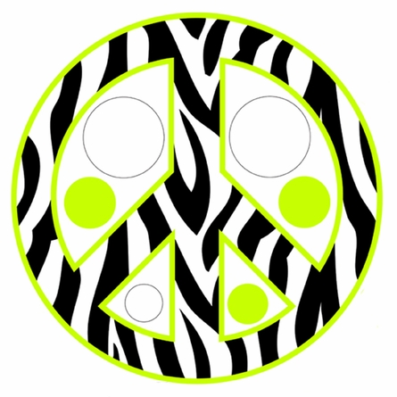 Zebra Stripe Peace Signs and Dots in Green Wall Sticker