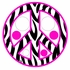 Zebra Stripe Peace Signs and Dots in Pink Wall Sticker