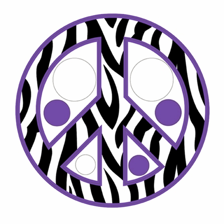 Zebra Stripe Peace Signs and Dots in Purple Wall Sticker