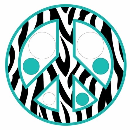 Zebra Stripe Peace Signs and Dots in Teal Wall Sticker