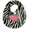 Zebra with Hot Pink Heart Bib
