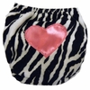 Zebra with Hot Pink Heart Diaper Cover