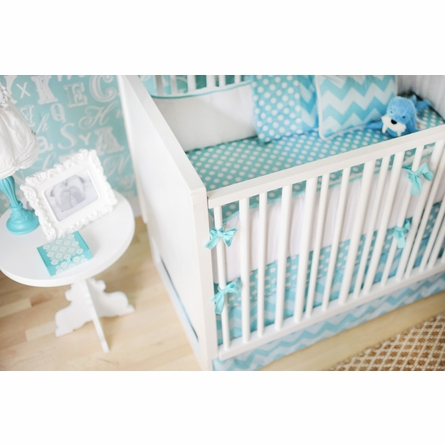 Zig Zag Baby Crib Bedding Set in Aqua