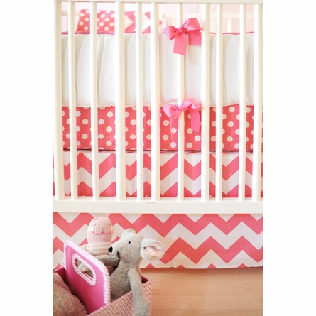 Zig Zag Baby Crib Bedding Set in Hot Pink