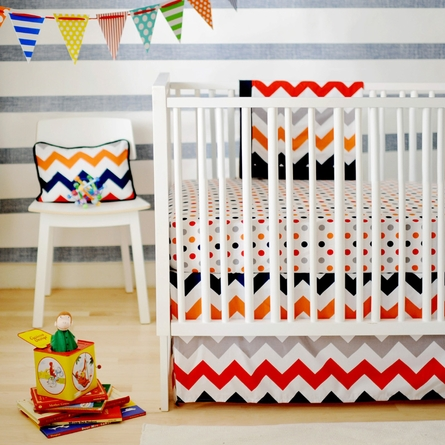 Zig Zag Baby Crib Bedding Set in Rugby