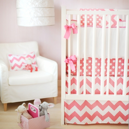 Zig Zag Baby Crib Bumper in Hot Pink