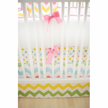 Zig Zag Baby Crib Bumper in Rainbow