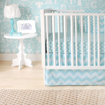Zig Zag Baby Crib Skirt in Aqua