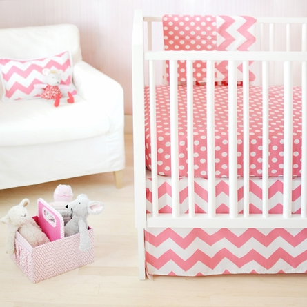 Zig Zag Baby Crib Skirt in Hot Pink