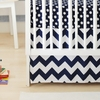 Zig Zag Baby Crib Skirt in Navy