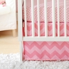 Zig Zag Baby Crib Skirt in Pink Sugar