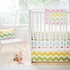 Zig Zag Baby Crib Skirt in Rainbow