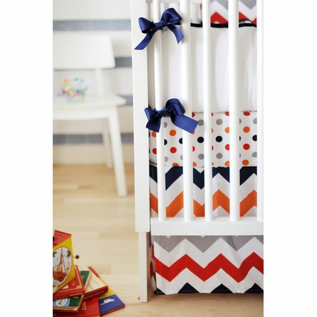 Zig Zag Baby Crib Skirt in Rugby