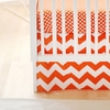 Zig Zag Baby Crib Skirt in Tangerine