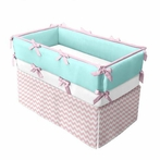 Zig Zag Baby Pink Crib Bedding Set