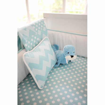 Zig Zag Baby Throw Pillow in Aqua