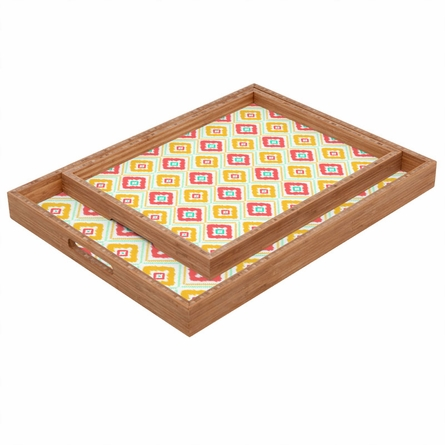 Zig Zag Ikat White Rectangle Tray