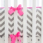 Zig Zag in Slate Crib Bumper with Bright Pink Trim