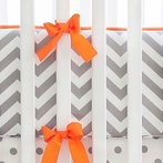 Zig Zag in Slate Crib Bumper with Orange Trim