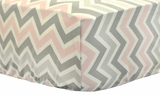 Zig Zag Pink and Gray Crib Sheet $(+42.00)