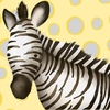 Zoey the Zebra Yellow and Grey Canvas Wall Art