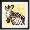 Zoey the Zebra Yellow and Grey Framed Art Print