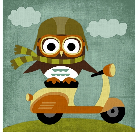 Zooming Vespa Owl Canvas Reproduction