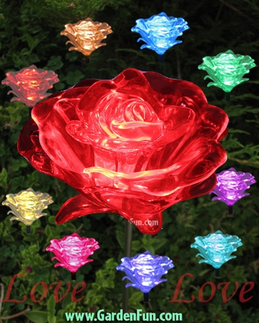 1 Dozen Solar Roses - (LED Color Changing) - Click to enlarge