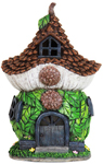 "12"" Solar Pinecone Leaf Cottage"