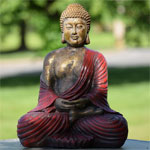 "16.5"" Meditating Buddha - Antique Red"