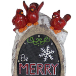 "16"" LED ""Be Merry & Bright"" w/Cardinals Statue"