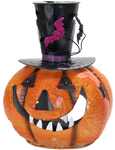 "16"" Metal Pumpkin w/Top Hat & Candle Holder"