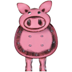 "17"" Solar Metal Marquee LED Pig Statue"