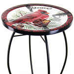 "21"" Glass Table - Cardinal Bird"