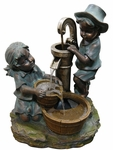 "24"" Curious Children Outdoor Fountain"