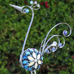 "28"" Pewter Filigree Bird w/Mosaic Tile"