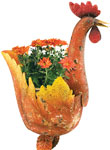 "28"" Metal Rooster Planter"