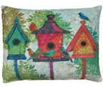 3 Birdhouses Outdoor Pillow