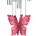 """30"""" Butterfly Wind Chime - Rose"""