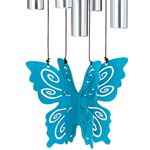 """30"""" Butterfly Wind Chime - Teal"""