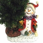 "36"" Fiber Optic Christmas Tree Decoration - Happy Snowman"