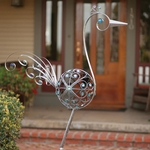 "36"" Filigree Bird - Pewter w/Blue Beads"