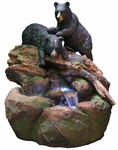 "36"" Playful Black Bears Fountain w/LED Lights"
