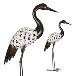 "37"" Filigree Metal Crane Statue - Crackle Ivory Finish"
