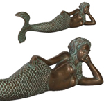 "39"" Dreamy Mermaid Lying Statue - Verde Bronze Finish"