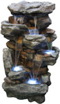 "51"" Rocky Waterfalls Outdoor Fountain w/LED Lights"