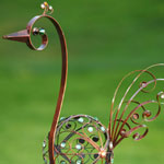 "60"" Metal Filigree Bird - Bronze w/ Green Beads"